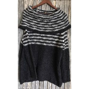 FREE PEOPLE Black White Cowl Neck Sweater